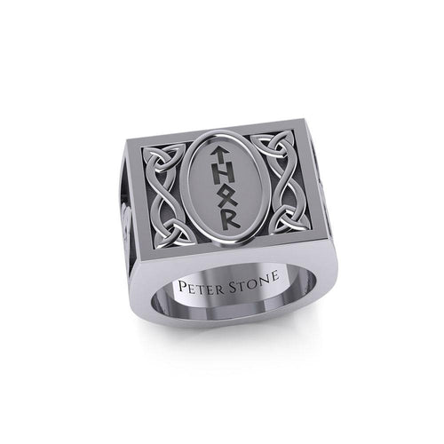 Viking God Thor Runic Silver Signet Men Ring with Triquetra Design TRI1972
