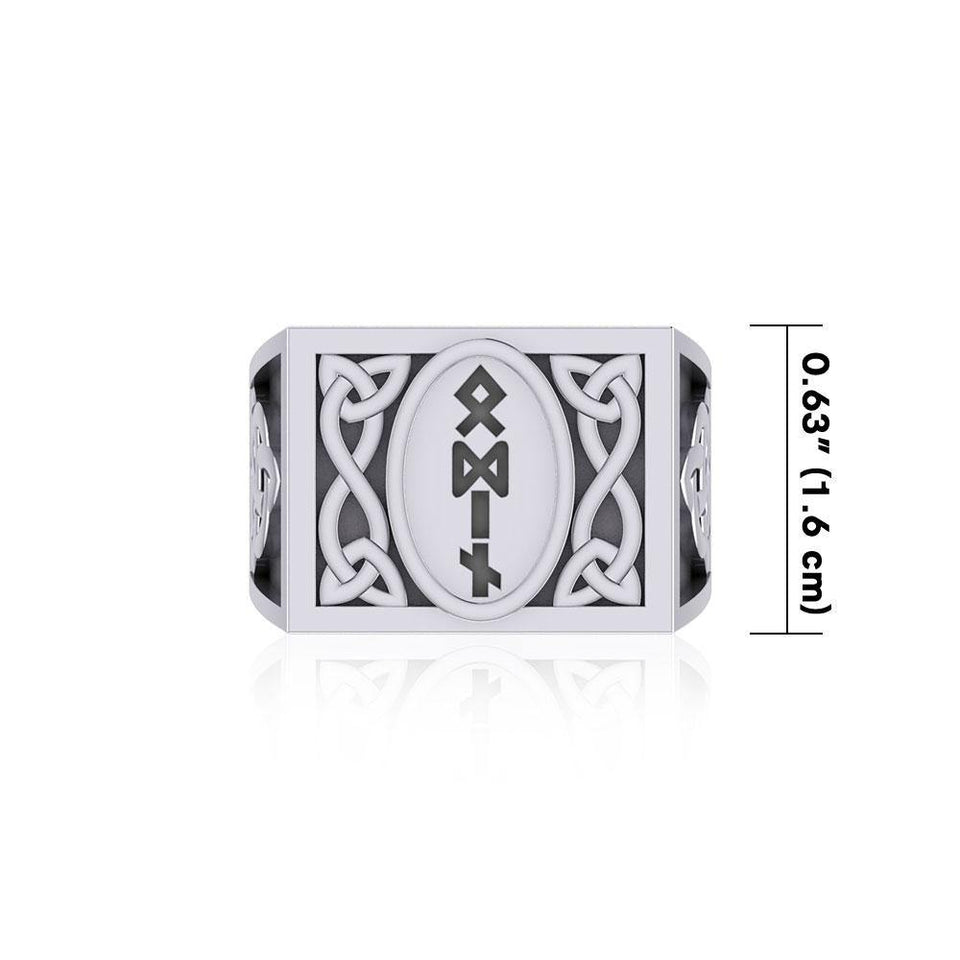 Viking God Odin Runic Silver Signet Men Ring with Triquetra Design TRI1973 Ring