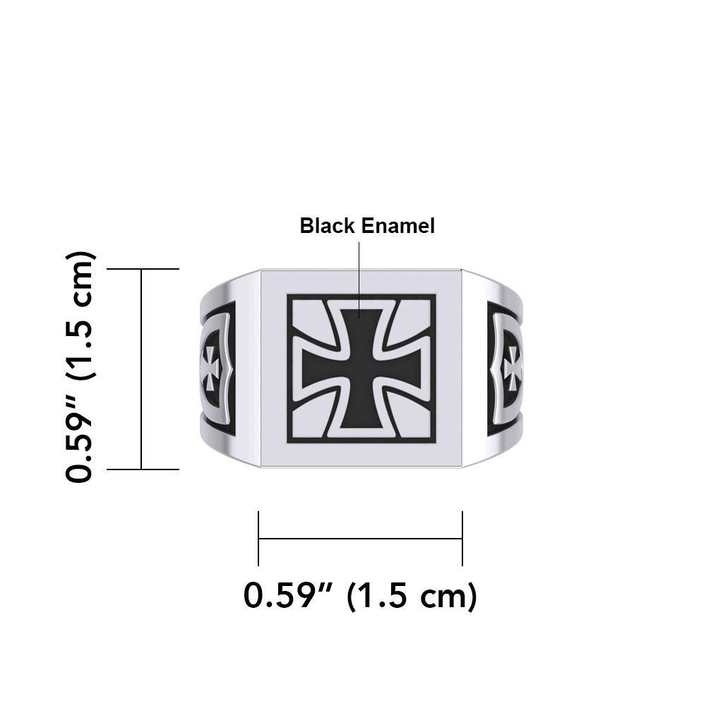 The Cross Silver Signet Men Ring with Enamel TRI1976