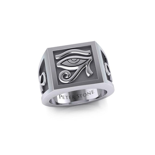 The Eye of Horus and Ankh Silver Signet Men Ring TRI1980 peterstone.