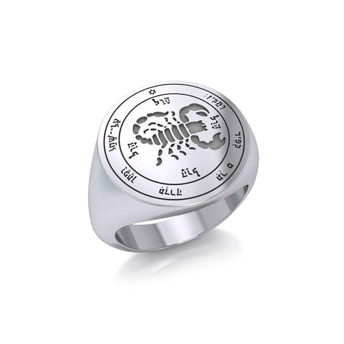 Fifth Pentacle of Mars Silver Signet Men Ring TRI1988