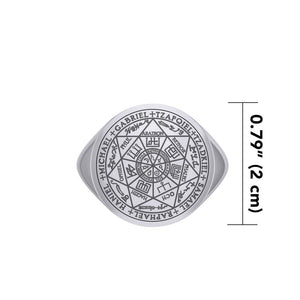 Seven Archangels Seals Silver Signet Men Ring TRI1990