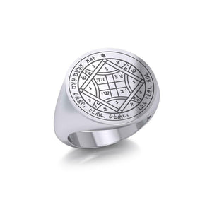Solomon Seal of Love Silver Signet Men Ring TRI1993
