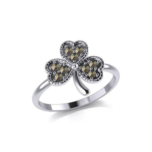 A young spring of luck and happiness Silver Celtic Shamrock Ring with Marcasite TRI2029 peterstone.