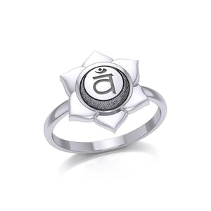 Svadhisthana Sacral Chakra Sterling Silver Ring TRI2038 peterstone.