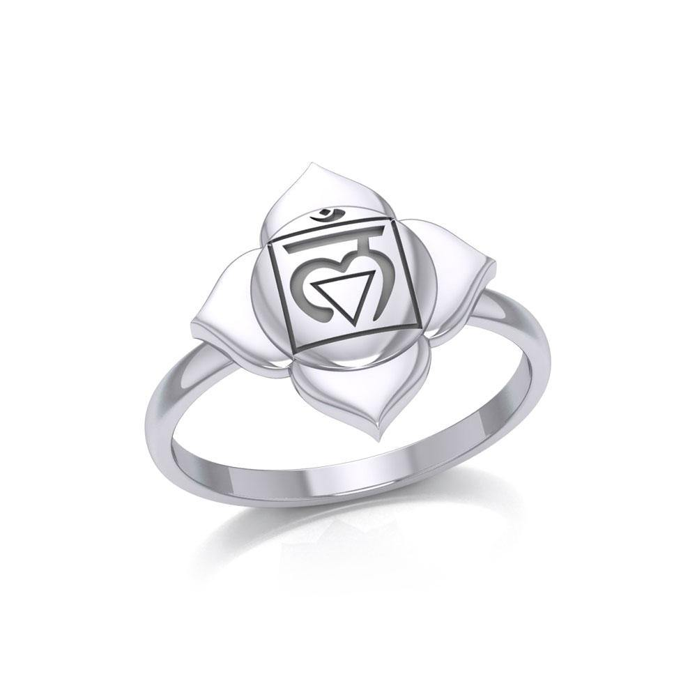 Muladhara Root Chakra Sterling Silver Ring TRI2039 peterstone.