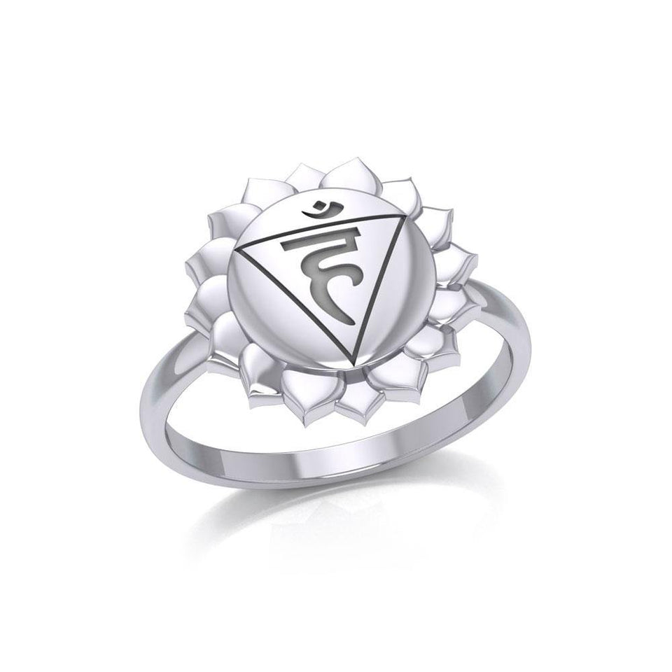 Vishuddha Throat Chakra Sterling Silver Ring TRI2040