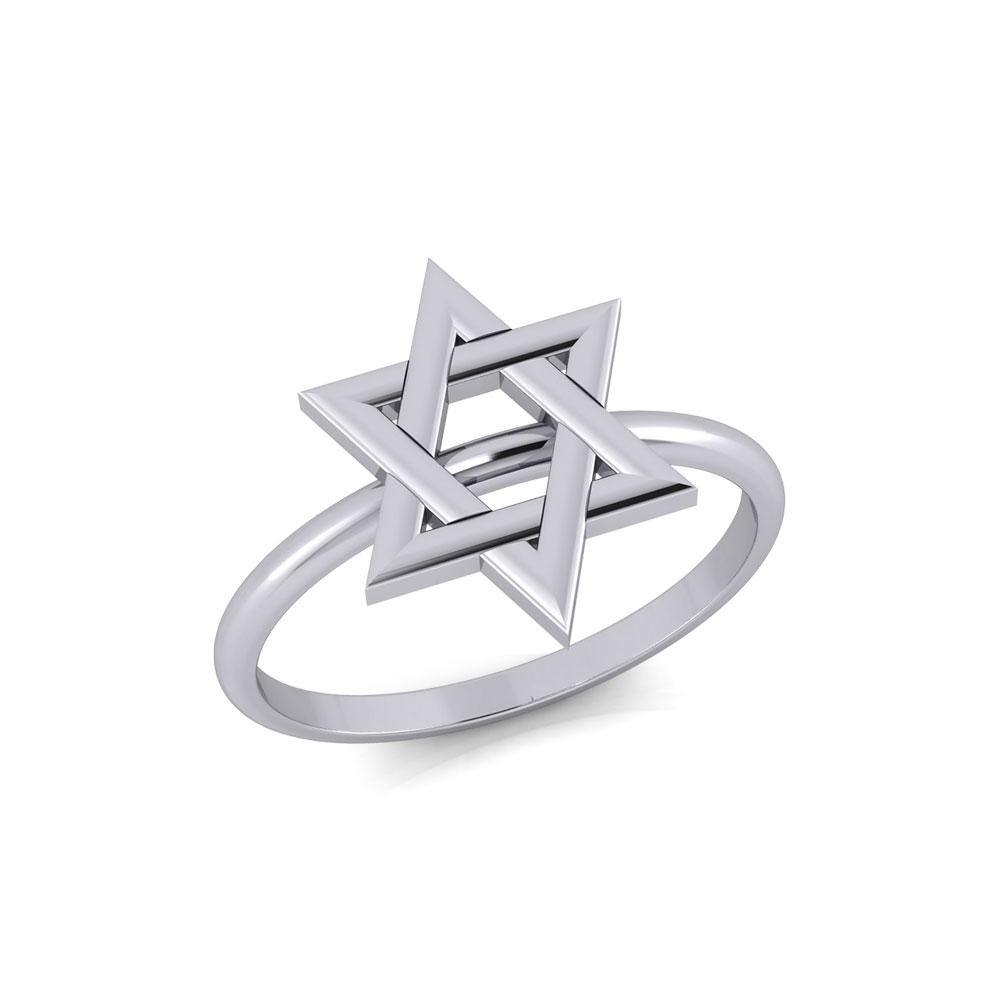 Star of David Silver Ring TRI2057 peterstone.