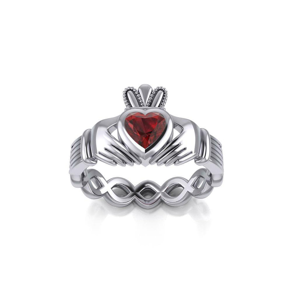 Claddagh with Gemstone Silver Ring TRI2104 peterstone.