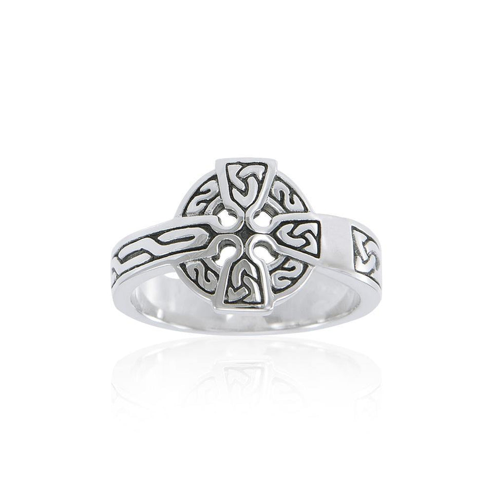 Sterling Silver Celtic Cross Ring TRI2105 peterstone.