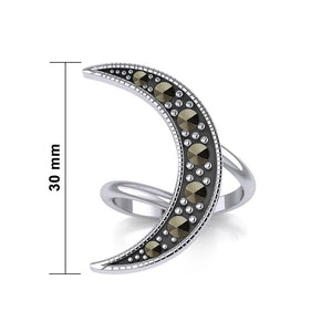 Crescent Moon Sterling Silver Ring with Marcasite TRI2124 peterstone.
