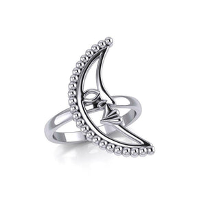 Crescent Moon Silver Ring TRI2126 peterstone.