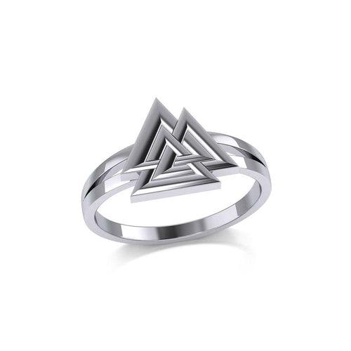 Sterling Silver Viking Valknut Ring Jewelry TRI2152 peterstone.