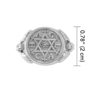 Angel Talisman Occult Large Sterling Silver Ring TRI2153 peterstone.