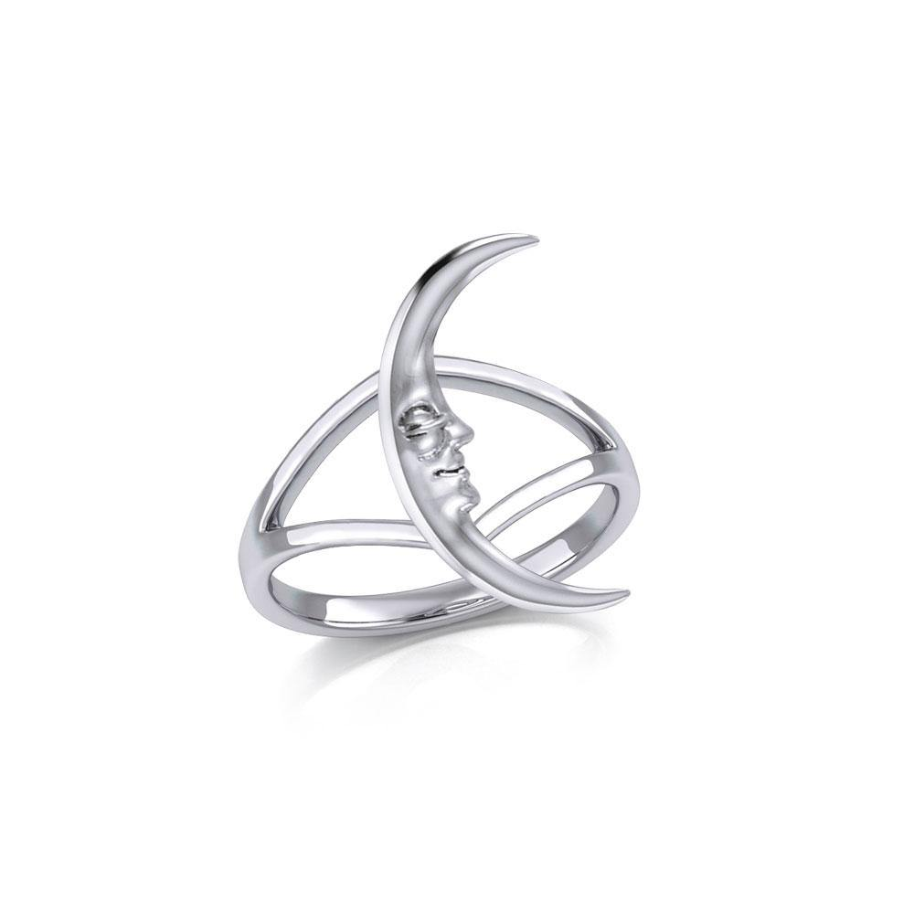 A Glimpse of the Crescent Moon Silver Ring TRI2154 peterstone.