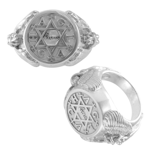 Angel Talisman Occult Small Sterling Silver Ring TRI2155 peterstone.