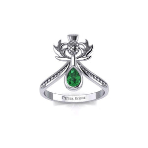 Thistle Silver Ring with Teardrop Gemstone TRI2156 peterstone.