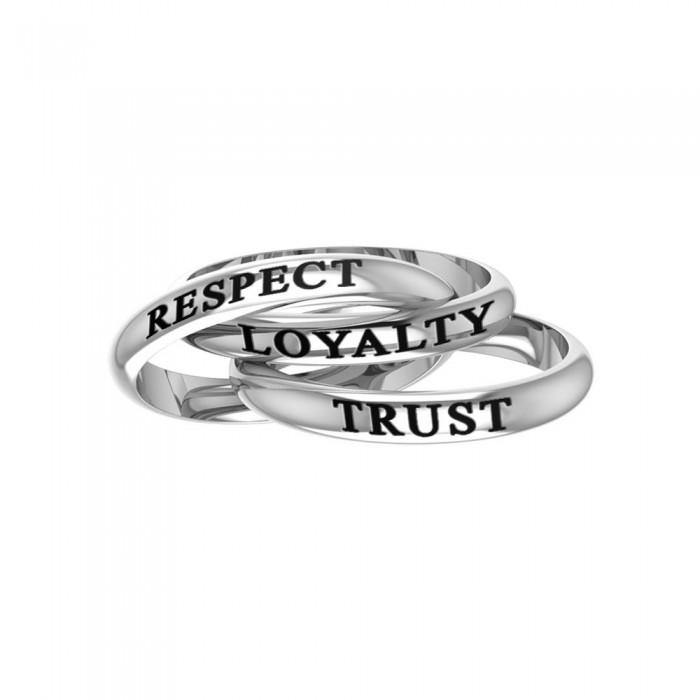 Respect Loyalty Trust Silver Ring TRI251 peterstone.