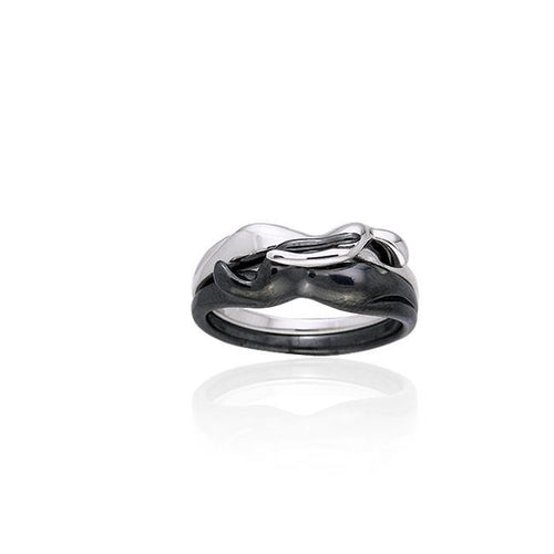 Interlocking Yin Yang Silver Ring TRI258 Ring