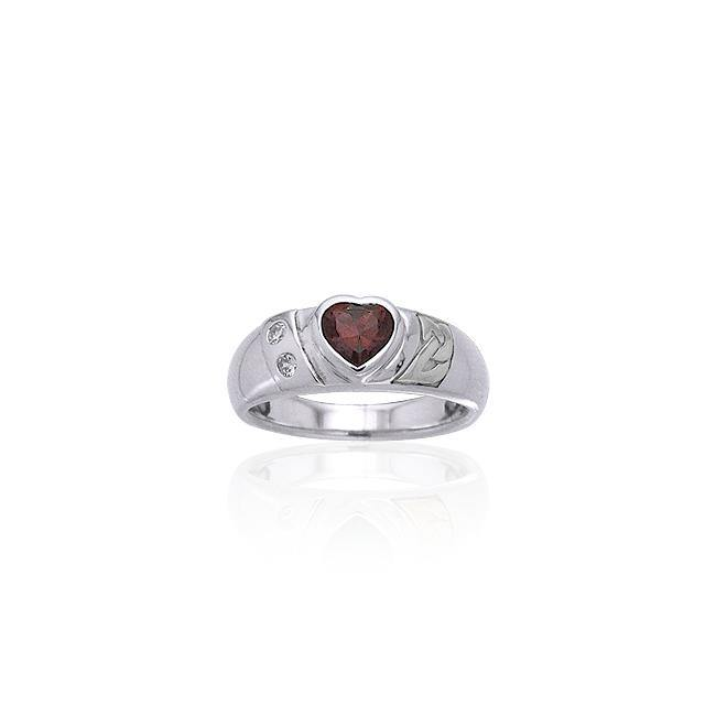 Celtic Silver Ring with Heart Gemstone TRI357 peterstone.
