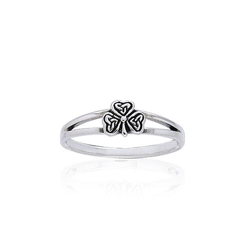 Celtic Trinity Triquetra Irish Shamrock Silver Ring TRI400