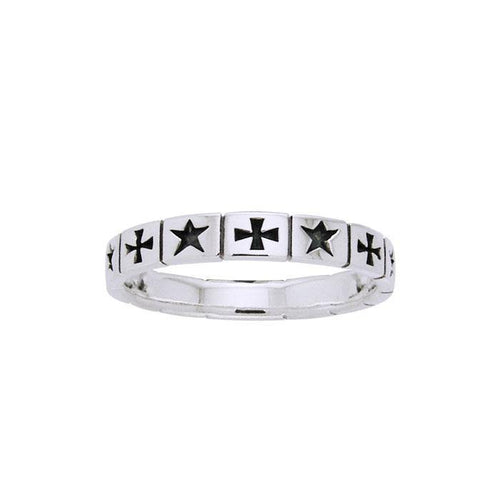Cross and Star Silver Band Ring TRI505 peterstone.