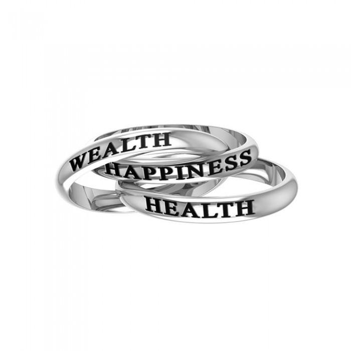 Health Wealth Happiness Silver Ring TRI514 peterstone.