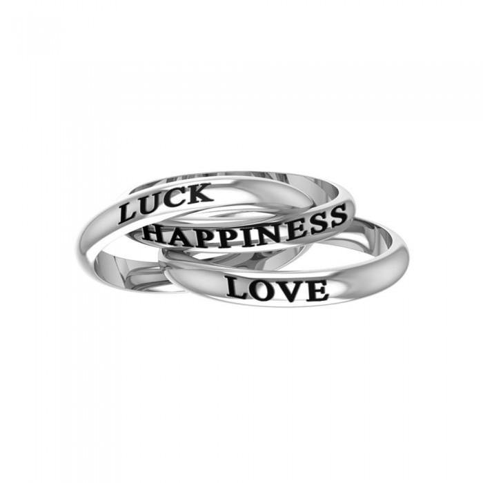 Love Luck Happiness Sterling Silver Ring TRI515