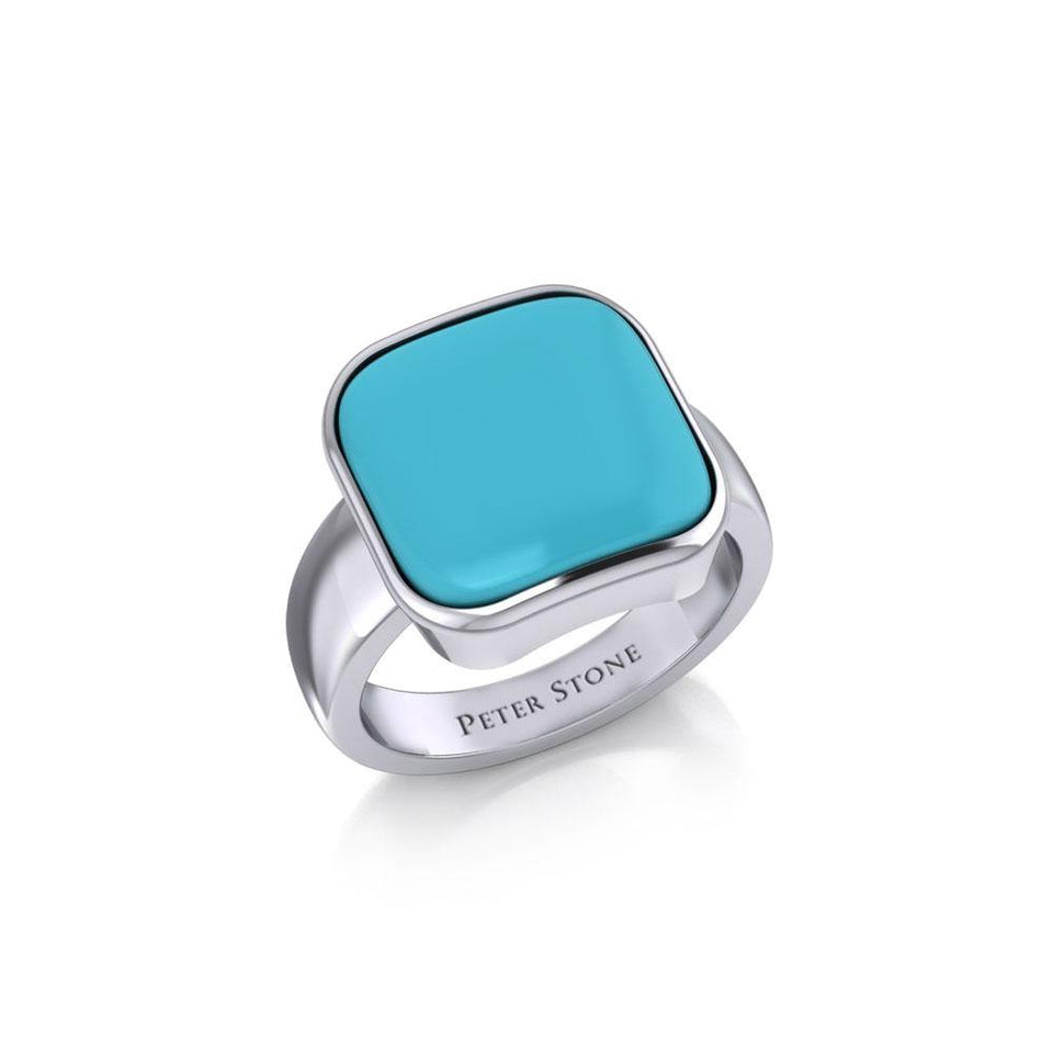 Modern Square Inlaid Silver Ring TRI530