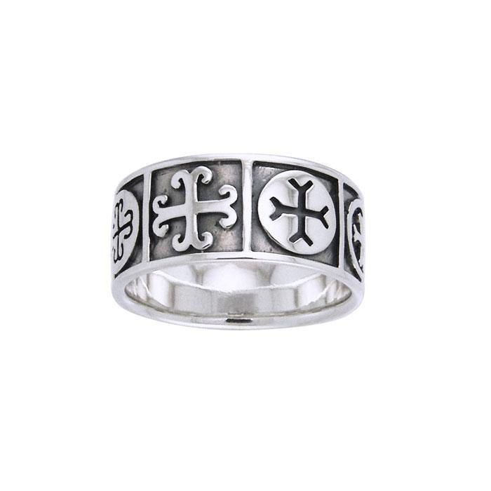 Medieval Crosses Sterling Silver Ring TRI532
