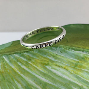CARPE DIEM SEIZE THE DAY Sterling Silver Ring TRI618 Ring