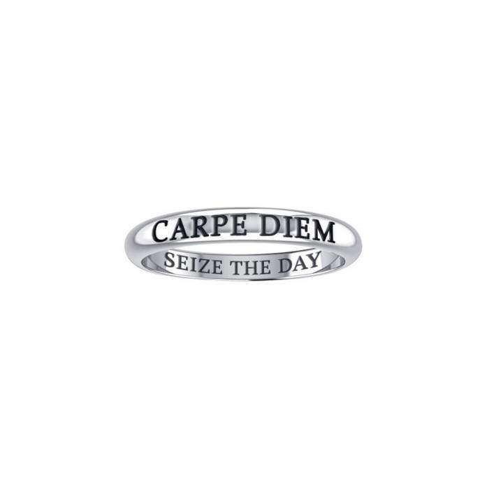 CARPE DIEM SEIZE THE DAY Sterling Silver Ring TRI618 peterstone.