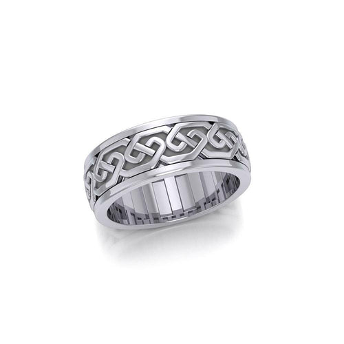 A showcase of Celtic beauty ~ Sterling Silver Celtic Knotwork Spinner Ring TRI771 peterstone.