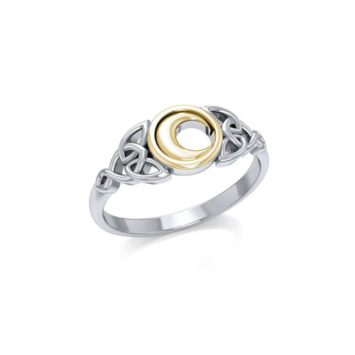 Celtic Moon Silver and Gold Ring TRV1746 peterstone.