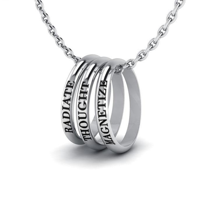 Empowering Words Radiate,Thought,Magnitize Silver Ring SetTSE028