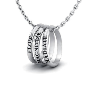 Empowering Words Flow, Magnitize, Radiate Silver Ring Set TSE031