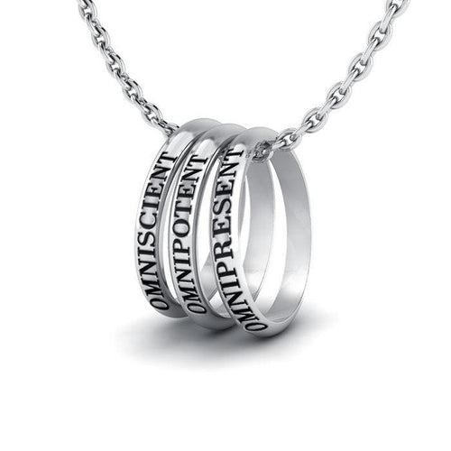 Empowering Words Omniscient Omnipotent Omnipresent Silver Ring Set TSE049 peterstone.