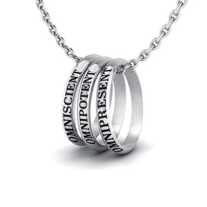 Empowering Words Omniscient Omnipotent Omnipresent Silver Ring Set TSE049