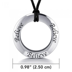 Believe Silver Pendant and Cord Set TSE212
