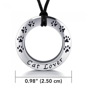 Cat Lover Silver Pendant and Cord Set TSE261