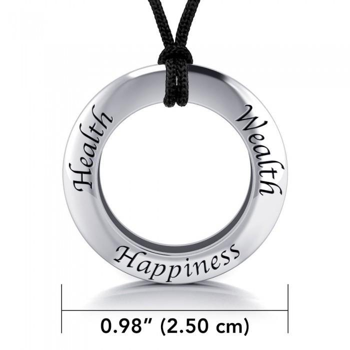 Health Wealth Happiness Silver Pendant and Cord Set TSE267 peterstone.