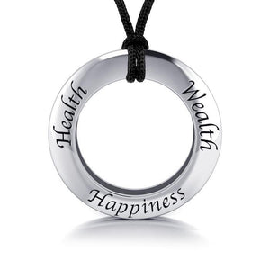 Health Wealth Happiness Silver Pendant and Cord Set TSE267