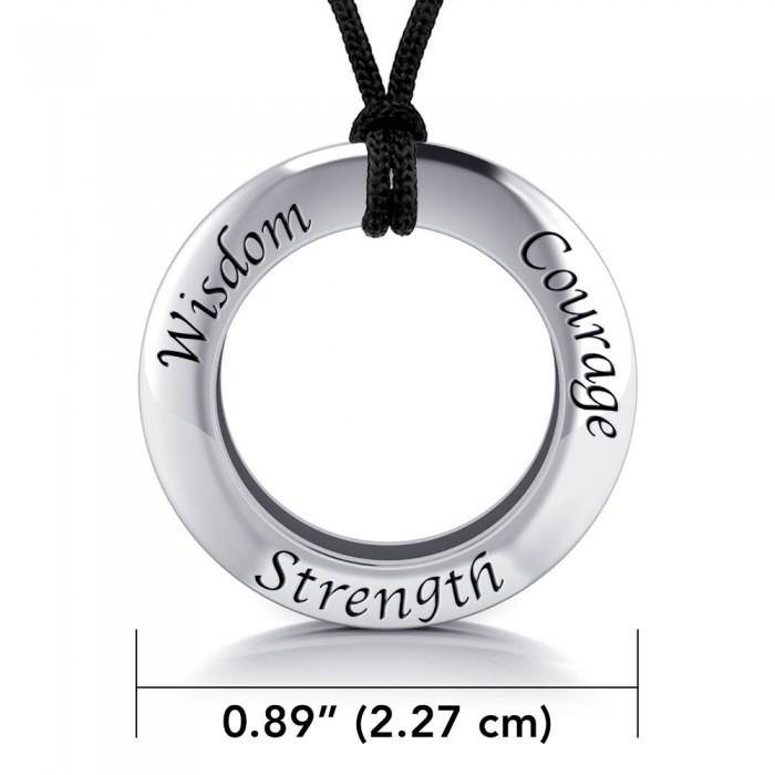 Wisdom Courage Strength Silver Pendant and Cord Set TSE268