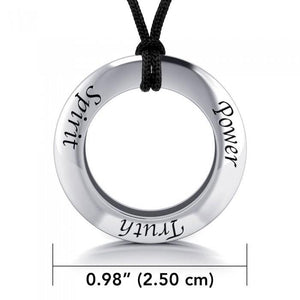 Power Truth Spirit Silver Pendant and Cord Set TSE271 peterstone.