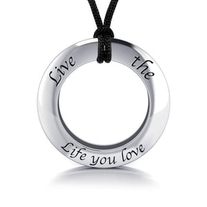 Live The Life You Love Silver Pendant and Cord Set TSE277 peterstone.