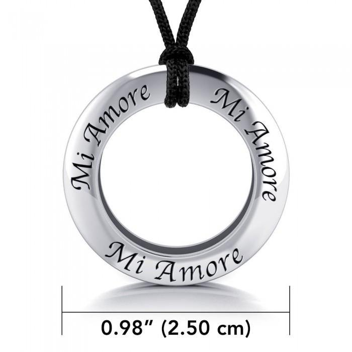 Amore My Love Silver Pendant and Cord Set TSE288 peterstone.