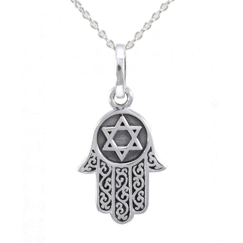 Silver Hamsa with Star of David Pendant and Chain Set TSE682