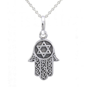 Silver Hamsa with Star of David Pendant and Chain Set TSE682 peterstone.