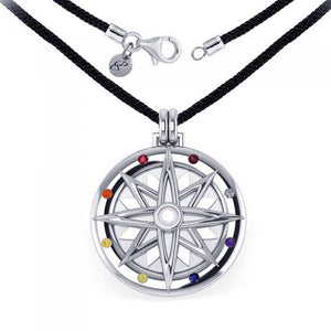 Compass Rose Silver Gemstone Necklace Set TSE688 peterstone.