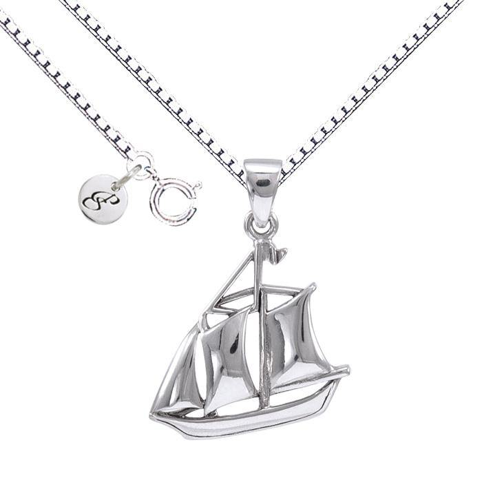 Sail as Far as the Majestic Schooner ~ Sterling Silver Jewelry Necklace TSE692 Pendant